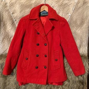 Bromleigh Classic Red Wool Peacoat